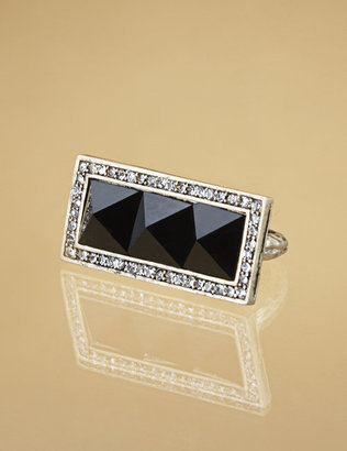 Worn Gold Black Rectangle Ring, Ships 7/8. - Jewelry