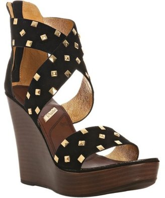 Matiko black suede studded &#39;Snookie&#39; platform wedges - Shoes
