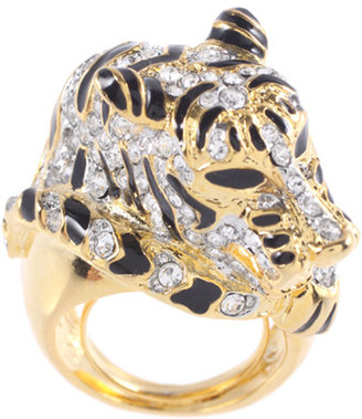 Kenneth Jay Lane Adjustable Tiger Ring - Pouncing Panther Jewels 