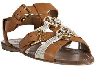 Miu Miu light brown leather ring detail flat sandals - Miu Miu