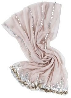 Leather Metal Paillettes Pashmina in Ivory - Scarves