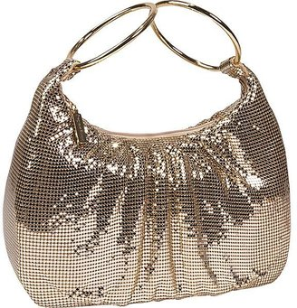 Whiting and Davis Mesh Double Hoop Hobo - Metallic Hobo
