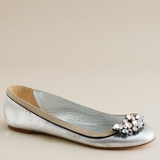 Regina metallic-leather ballet flats - Embellished Flats