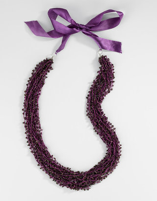Catherine Stein Purple Woven Beaded Ribbon Necklace - Catherine Stein Necklaces