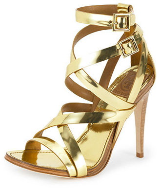 Mita Metallic Strappy Heel - Shimmery Gold Sandals