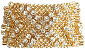 Metal Mesh Rhinestone Snap Bracelet - Bracelets