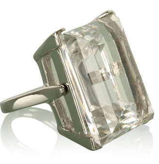 Kenneth Jay Lane Clear Crystal Cocktail Silver Ring - Decorative Rings