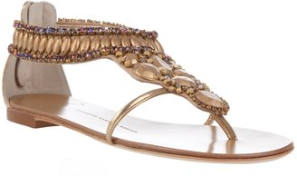 GIUSEPPE ZANOTTI DESIGN - Embellished leather sandals - Swimwear