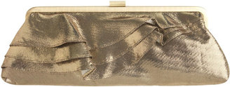 Metallic Lame Ruffle Frame Clutch - Gold Clutch Bags