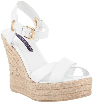 RALPH LAUREN - Leather platform wedge sandals - Heels