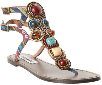 Sanzo Brown Multi - Ethnic Beaded Sandals