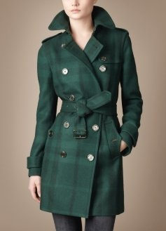 Double Breasted Woolen Check Trench Coat - Clothes