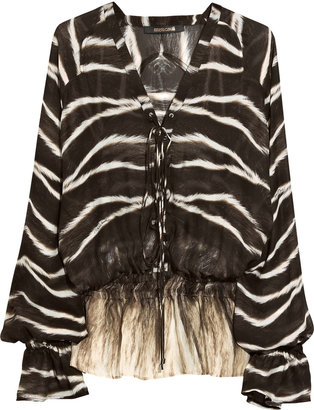 Roberto Cavalli Animal-print silk-chiffon blouse - Clothes