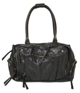 Black Zipper Leather-Textured Satchel - Torrid