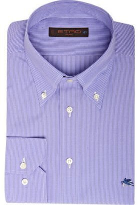 Etro classic blue pinstriped button down dress shirt - Dress Like Chuck Bass