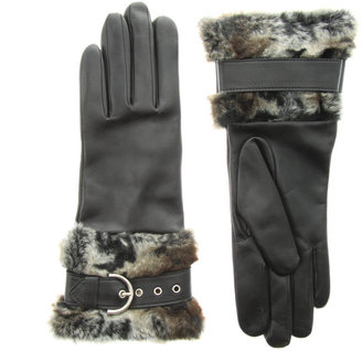 Dents Leather Strap With Faux Fur Trim Gloves - Handbags