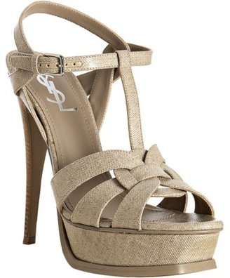 Yves Saint Laurent stone coated canvas 'Tribute' platform sandals - Platform Sandals
