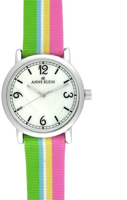 AK Anne Klein Watch, Multicolor Fabric Strap 10-9063MPMG - Funky Colored Watches
