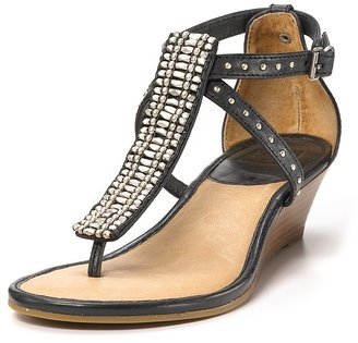 Frye &quot;Penny&quot; Beaded T-Strap Demi Wedge Sandals - Ethnic Beaded Sandals