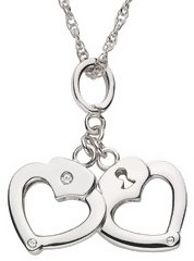 Sterling Silver Diamond Heart Handcuff Pendant w/ Chain - Jewelry