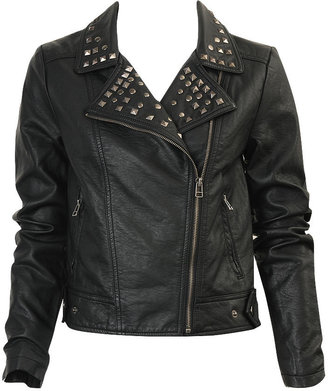 Studded Faux Leather Jacket - Forever 21