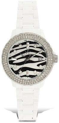 "Toy Watch ""Plasteramic"" White/Zebra With Pavé Bezel Watch, 38 mm - Wild Watches"