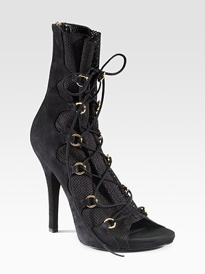 Dolce &amp; Gabbana Lace-Up Peep-Toe Ankle Boots - Dolce &amp; Gabbana