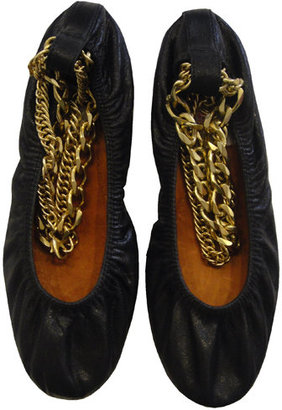 Lanvin Ballet Flat With Ankle Chain In Noir - Lanvin