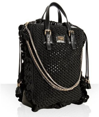 Dolce & Gabbana black crochet 'Miss Helen' chain tote - Dazzling Dolce and Gabbana Handbags