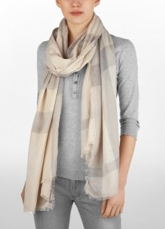 Sheer Check Scarf - Accessories
