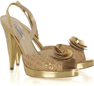 Oscar de la Renta Metallic rosette slingbacks - Oscar de la Renta