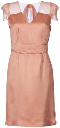 Alberta Ferretti Salmon Dress With Silk Chiffon Detailing - The Little Nude Dress