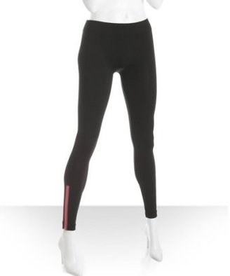 Romeo &amp; Juliet Couture black stretch nylon neon pink zip leggings - Funky Fluorescent Finds