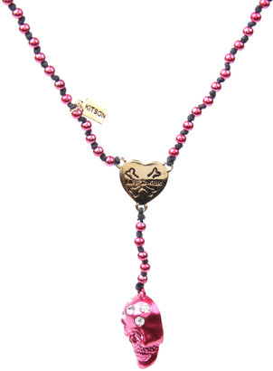 Kitson Knotted &#39;Heart Breaker&#39; Embellished Skull Linen Rosary Necklace - Stellar Skull Jewels 