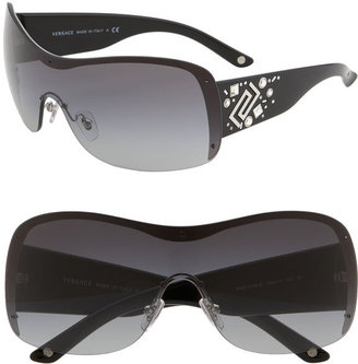 Versace Greek Key Oversized Shield Sunglasses - Shield Sunglasses