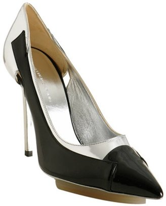 Balenciaga silver metallic leather patent trim pumps - Heels