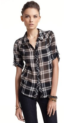 Joie &quot;Kylar&quot; Short Sleeve Button-Down Plaid Top - Plaid Button-Down Shirts 