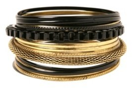 Gold and Black Mesh Chain Bangle Bracelet 16-Pack - Dress Like Selita Ebanks