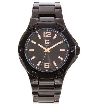 Oversized Round Black-Ionic Plated Watch with Rose Gold - Oversized Watches for Women