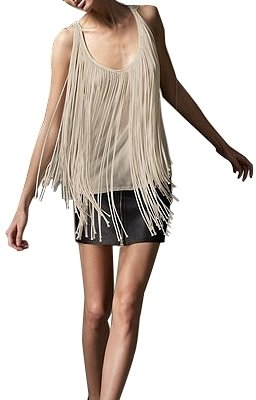 Literature Noir - Fringed Scoop Neck Tank - Fabulous Fringe