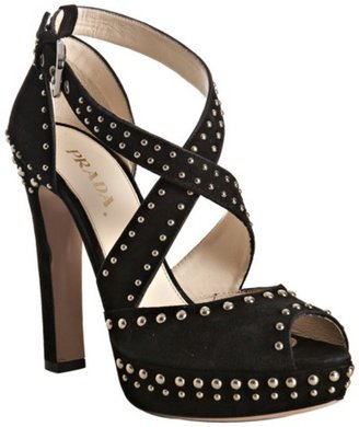 Prada black studded suede cross strap platform sandals - Gunmetal Studded Heels