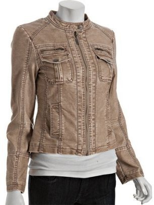 Miss Sixty tan leatherette zip front jacket - Outerwear