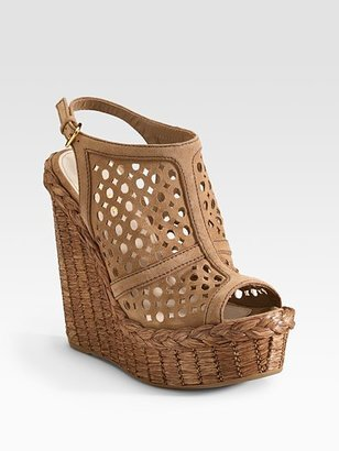 Prada Perforated Slingback Wedges - Shoes