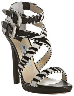 Jimmy Choo zebra printed pony &#39;Maddox&#39; platform sandals - Strappy Sandals