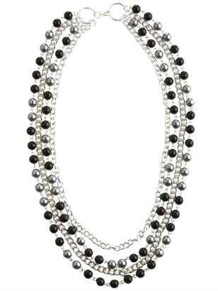 Chain and Pearl Drape Necklace - Layered Pearl Necklace