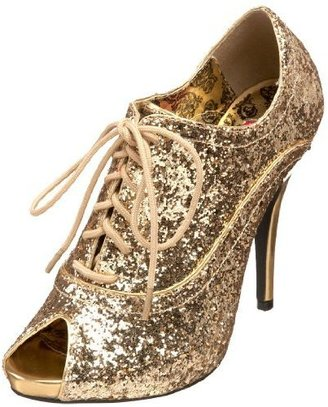 Pleaser Women&#39;s Wink 01 Peep Toe Glitter Oxford Pump - Brogues