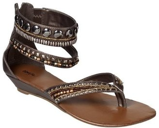 Women&#39;s Mossimo Pascale Embellished Ankle Strap Sandals - Pewter - Mossimo