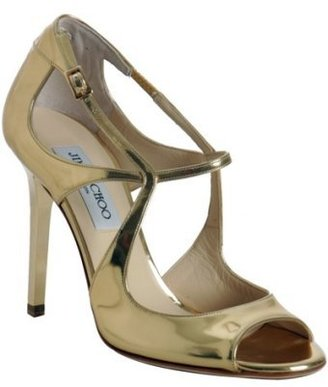 Jimmy Choo gold mirror leather &#39;Presta&#39; peep toe sandals - Gold Heels