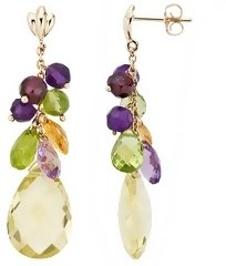 19 Carat Carat Multi-Gemstone 14K Yellow Gold Earrings - Jewelry