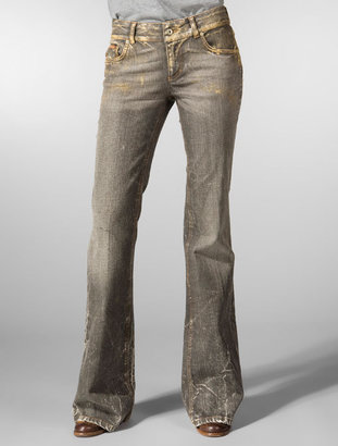 ShopStyle: D&G by Dolce & Gabbana Hotty Fit Whiskered Stretch Flare Leg in Gold Dust